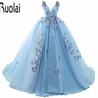 2017 In Stock New Arrival Beautiful V Neck Appliques Sleeveless Tulle Ball Gown Formal Prom Dresses Long Dresses Lace Up Back
