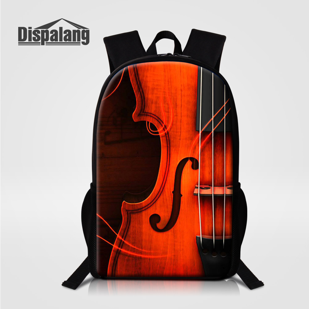 Dispalang Women Men's Casual Backpack Violin Printing School Bags For Elementary Students Music Back Pack Kids Bookbags Mochilas cute candy printing school bookbags for girls college students illustration backpack childrens 3d animal back pack for teenager