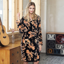 Women Thick Warm Sleep Lounge Flannel Kimono Robe East Dragon Print Sleepwear Nightwear Nightgown Bath Robe Autumn Winter
