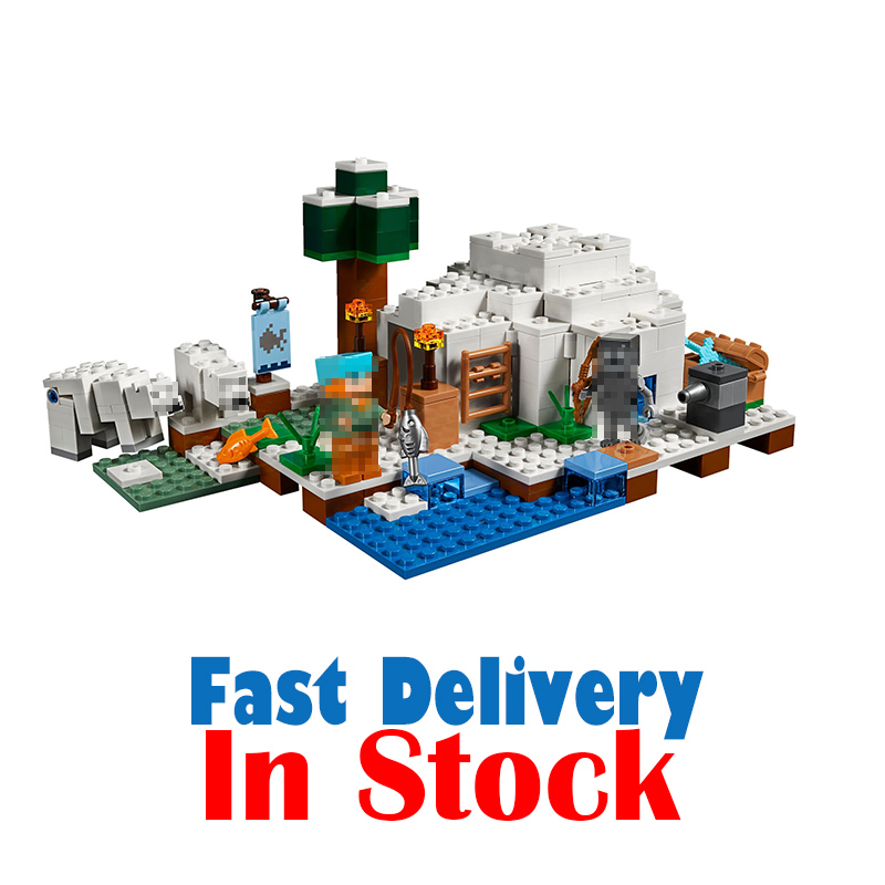 2018 The Polar Igloo Bear House 18037 21142 Alex My World Minecraft Action Figures Building Blocks Kits Set Bricks Lepin toys ...