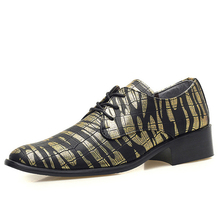 NIUBU Luxury Men Leather Shoes Pointed Toe Dress Shoes Fashion Print Lace Up Flats Casual Oxford Shoes Nightclub Bar Wedding цены онлайн