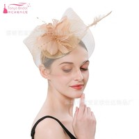 Nude Champagne Red Black bride hat cover face tulle fashion hat for women and ceremonial wear women accessories JQ500