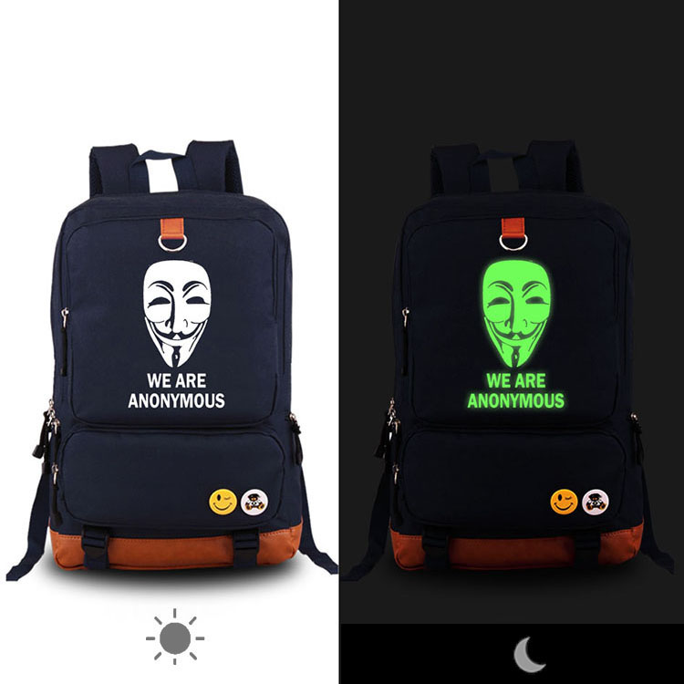 V For Vendetta We Are Anonymous Printed Backpack Teen High School Student Luminous School Bag Womens Mens Canvas Laptop Backpack