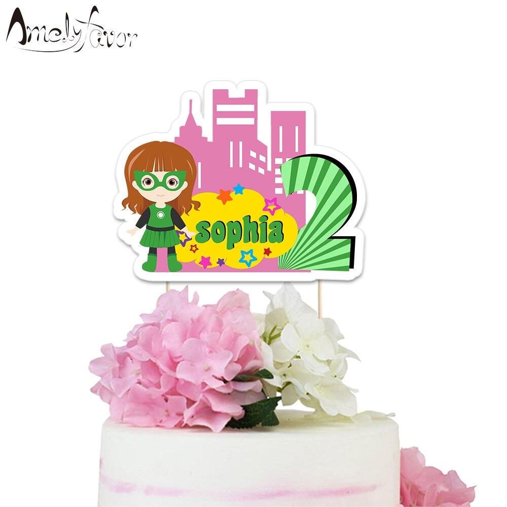 Fabulous Superhero Theme Party Paper Cake Topper Hero Green Lantern Girls Funny Birthday Cards Online Amentibdeldamsfinfo