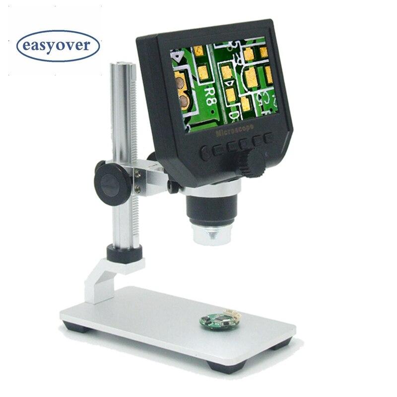 """Портативный 600X3,6 Мп Цифровые микроскопы 4,3 """"ЖК-дисплей электронных HD видео микроскопы USB эндоскопа Лупа Камера аль-сплав стент"""