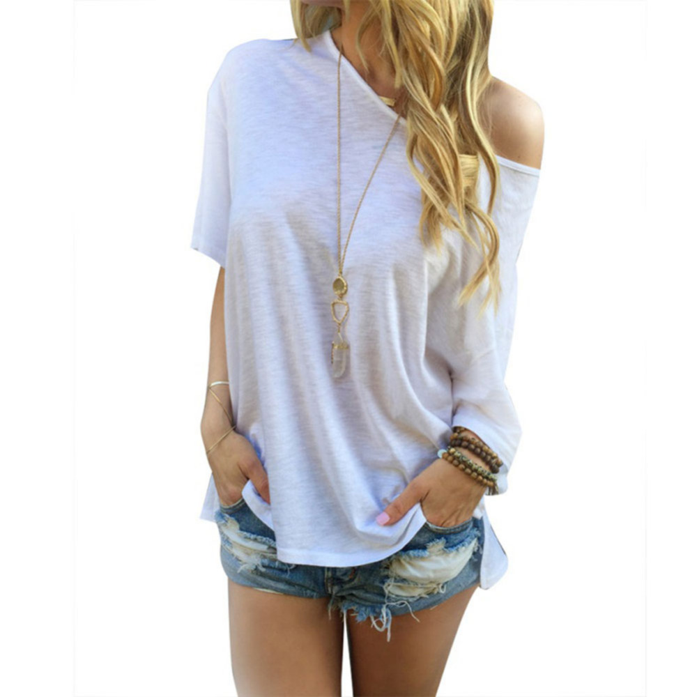 Summer Women Cotton Loose Short Sleeve font b Shirt b font One Shoulder font b Blouse