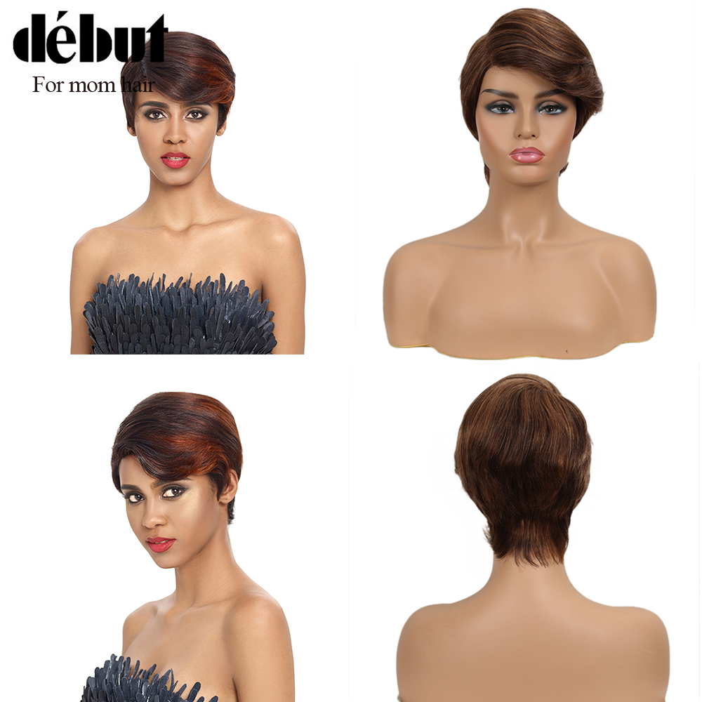 Debut Lace Short Real Human Hair Wigs 100% Remy Brazilian Hair Wigs Nature Wave U PART Orange Simple Lace Wigs For Mom Hair