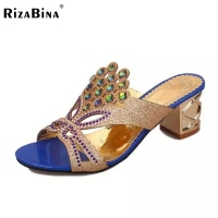 RizaBina 4 Colors Women Bohemia Rhinstone High Heel Sandals Beading Open Toe Gold Heel Sandals Summer