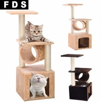 Deluxe 36 Cat Tree Condo Furniture Play Toy Scratch Post Kitten Pet House Beige Free Shipping