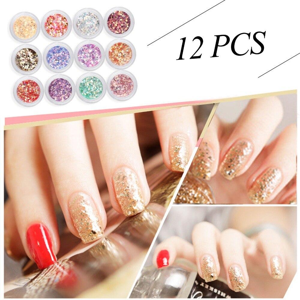 Perfect summer nail art glitter 12 farben acryl nagel glitter heißer ...