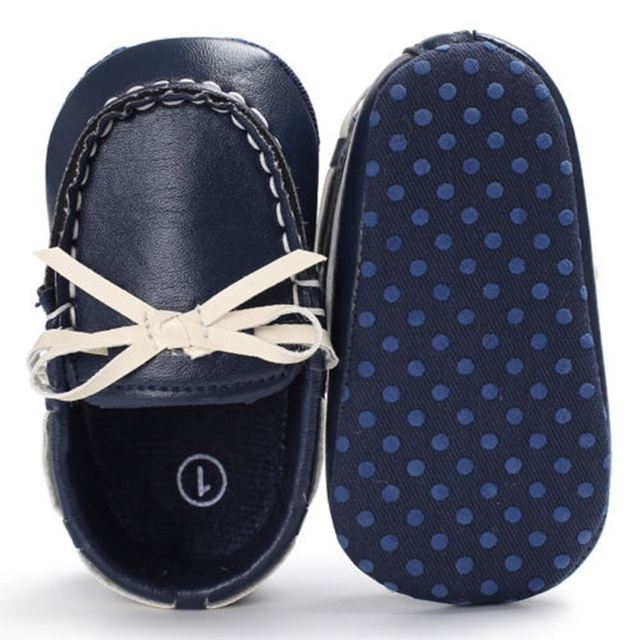 Newborn Kids Baby Boys Girls New Fashion Casual Solid Soft Sole Bowknot Leather Crib Shoes First Walkers Hot
