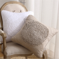 50x50cm Square Cotton Cloth Flower Embroidered Cushion Cover Car Home Sofa Chair Waist Back Seat Decor