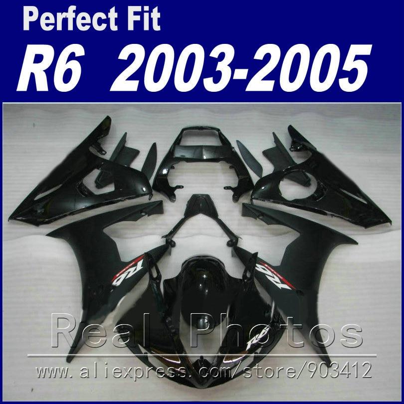 High quality bodywork for YAMAHA R6 fairing kit 2003 2004 2005 black Fit YZF R6 fairings
