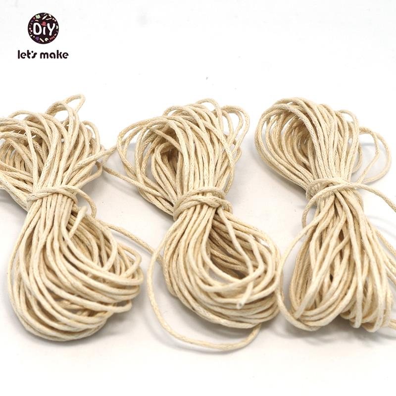 Let's Make DIY Rope 15 Strands Waxed Twisted Waxed Cotton Cord String Thread Line 1mm 5 Meters