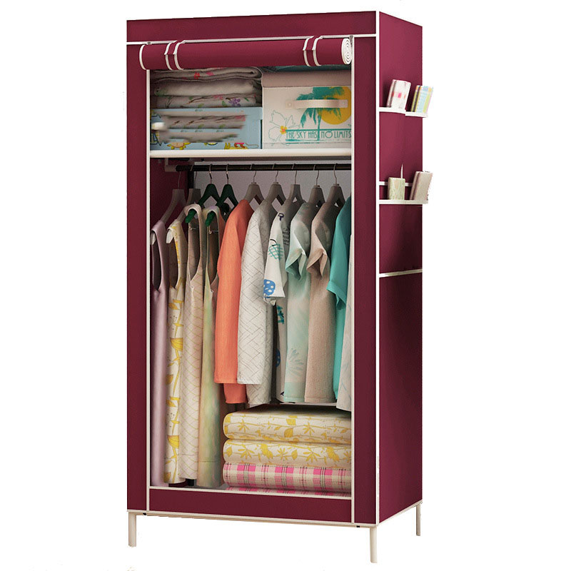 Non-woven Wardrobe Combination Of The Overall Simple Korean Single Folding Wardrobe Dust-proof Small Storage Cabinet Furniture duh non woven wardrobe combination wardrobe double folding wardrobe assembling home furnishing decoration coat hangers locker