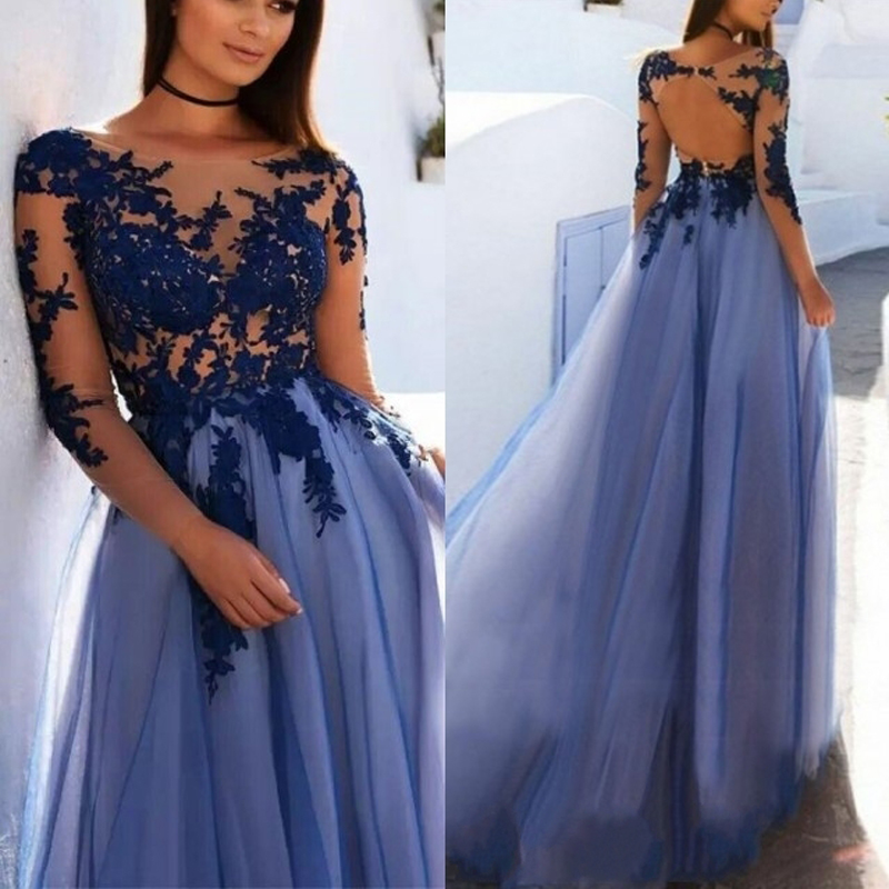 Long Sleeve Prom Dresses 2019: Elegant Long Sleeve Prom Gowns Lace Appliques 2019 Tulle