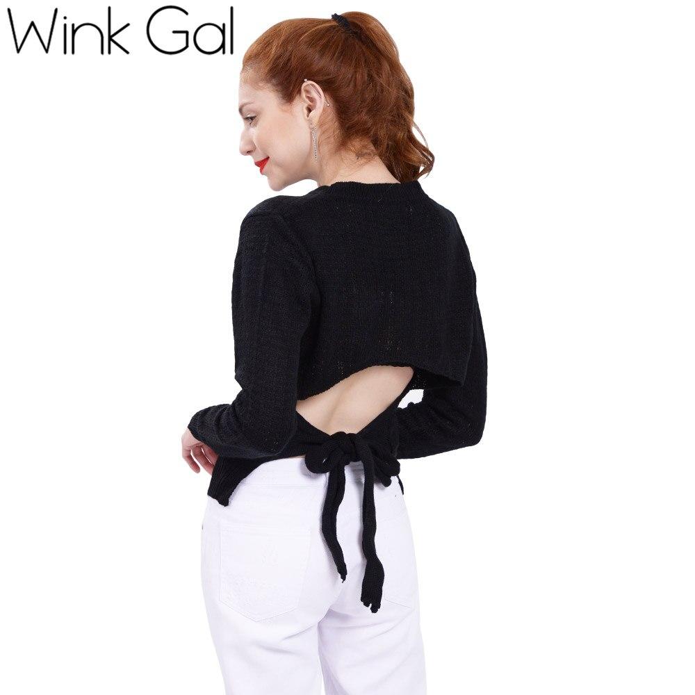 Wink Gal Black Knitted Sweaters for women Pullovers Open Back Long Sleeve Winter Women Christmas Sweaters Knitwear 10108