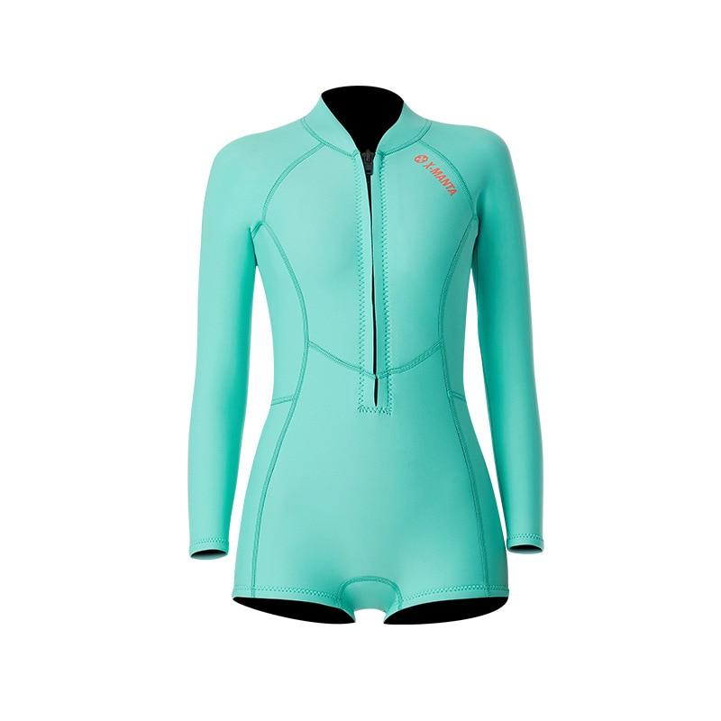 1,5 мм неопрен бикини гидрокостюм УФ Защита с длинным рукавом Дайвинг костюм купальный костюм серфинг подводное плавание чулки купальники - Цвет: Bikini Blue