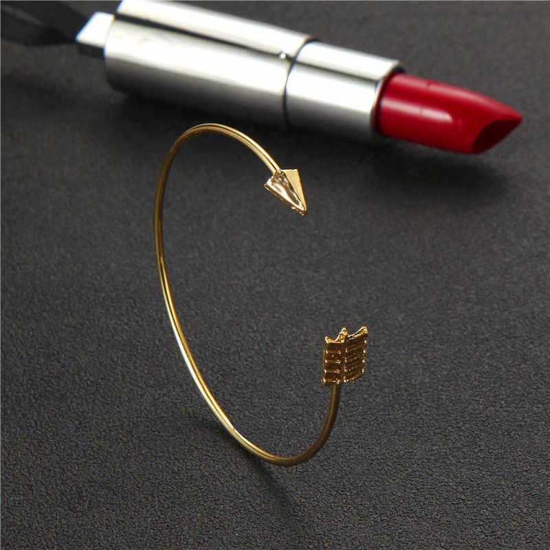 Docona złoty kolor węzeł strzałka otwarcie bransoletki dla kobiet dziewczyna czeski Metal regulowana bransoletka typu bangle komunikat biżuteria 6127