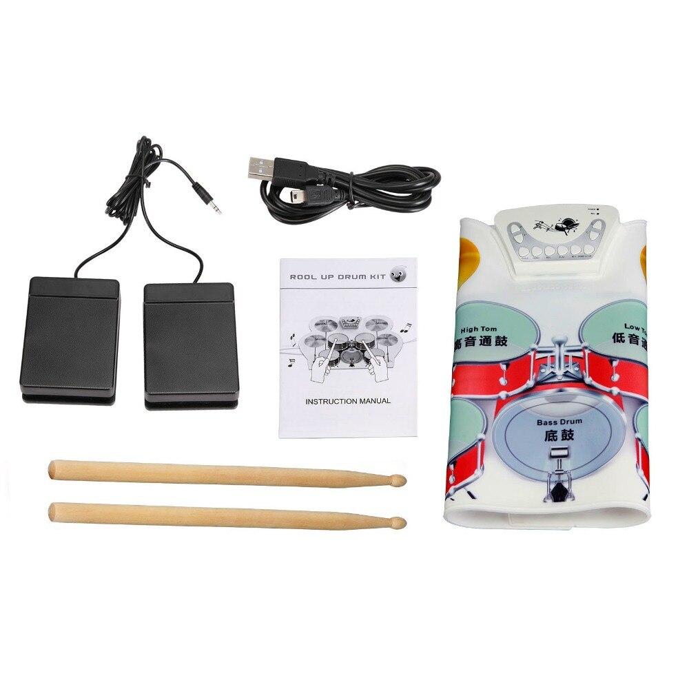 1 pièces nouveau Kit de batterie enroulable USB électronique en Silicone avec baguettes pédale musicale