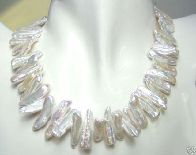 Rare and abnormal shape and white pearl necklace 18''