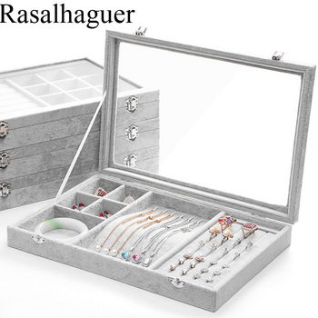 Grey Velvet Jewelry Display Box Case for Ring Earring Bracelet Necklace or other Ornaments Storage Jewellery Organizer Packaging large leather gift box for jewellery wedding party decoration display velvet organizer earing necklace ring packaging pink box