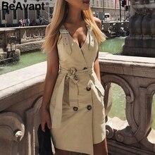 BeAvant 섹시한 v 넥 코튼 드레스 여성 Backless 블랙 버튼 새시 라인 bodycon 드레스 섹시한 클럽 민소매 짧은 드레스 숙녀