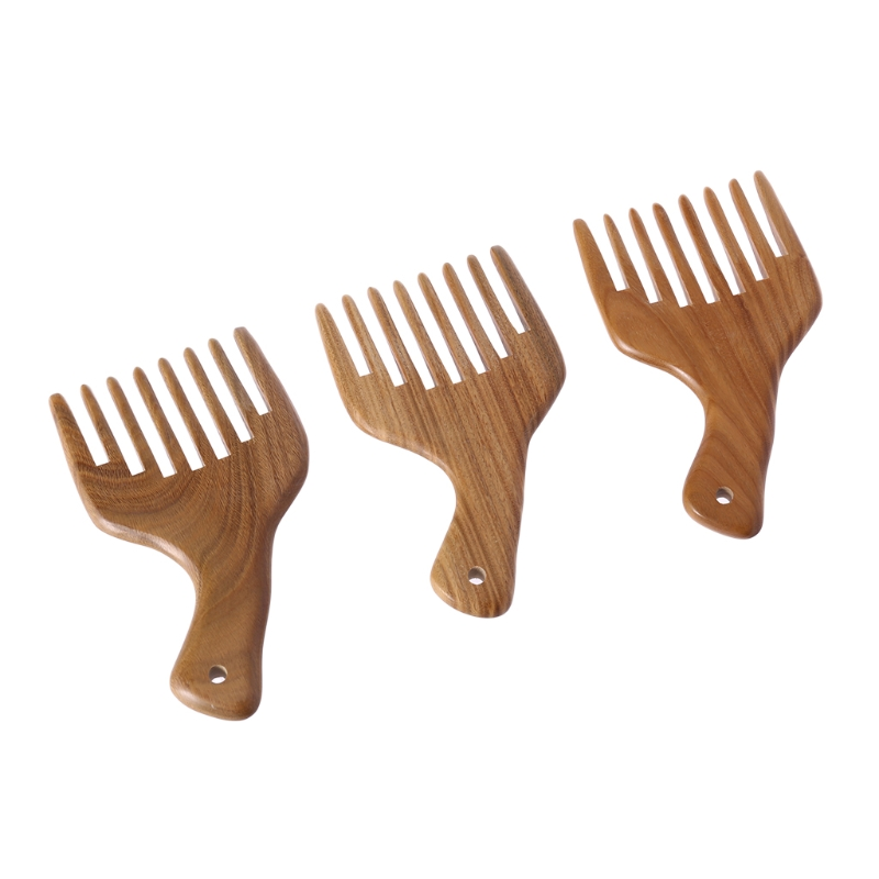 Wooden Wide Tooth Comb Green Sandalwood Massage Styling Hair Care Birthday Gift