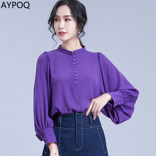Elegant Lady Chiffon Shirt Spring Bishop Sleeve Shirts Women Stand Collar Gauze Individual Single Breasted Modern Casual Blouse bishop sleeve ribbed sweatshirt