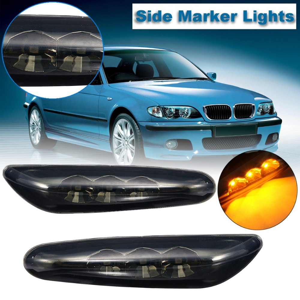 Pair Smoke Amber PMMA LED Turn Indicator Front Left Right Signal Side Marker Lights For BMW E82 E88 E60 E61 E90 E91 E92 E93 2pcs car styling led smoker side marker light fender turn signal lamp for bmw e81 e82 e87 e88 e90 e91 e92 e60 e61 accessories