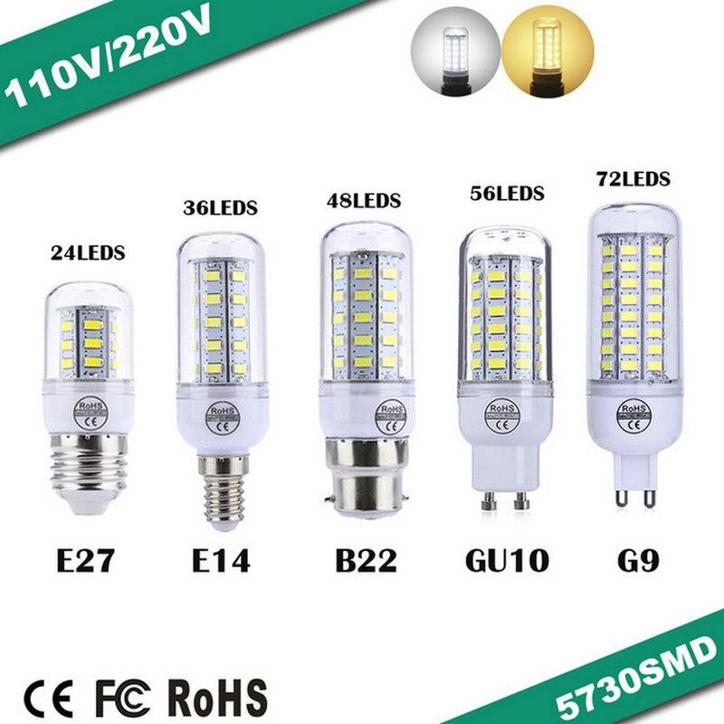 New E27/E14/G9/GU10/B22 LED lamp 9W 12W 15W 20W 25W SMD 5730 led light 220V/110V Chandelier LEDs Candle bulb Spotlight luminaria запонки david cross 9 b 1038 20 e