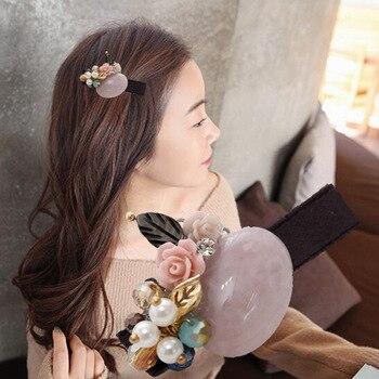 Horquillas para el pelo con forma de flor de cristal de piedra Natural a la moda, accesorios para el cabello, regalos de Navidad para niñas, joyería de lujo para mujeres
