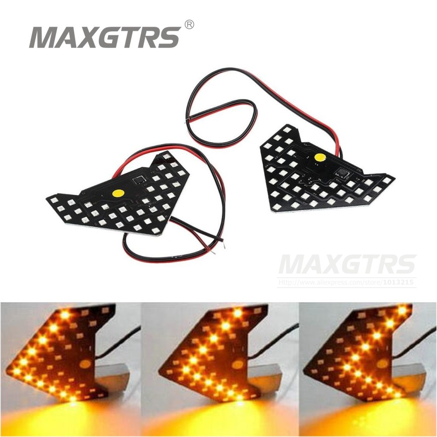 2pcs / lot Universal Fit Ultra Slim séquentiel clignotant 33-SMD-1210 Rétroviseur LED automatique <<< Flèches de clignotants à DEL orange jaune