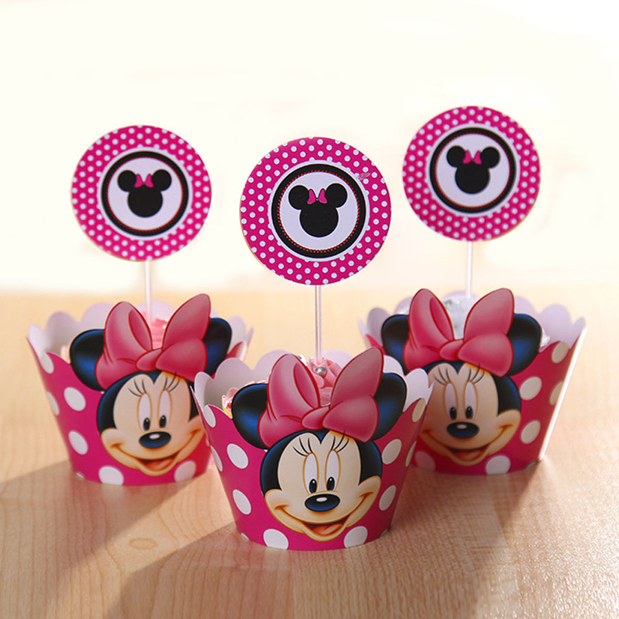 7 design Minnie and Mickey Mouse Cupcake Decorations Cupcake Wrapper ...