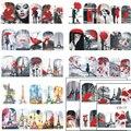 STZ 1 Folhas Fantasia 2017 Homem & Das Mulheres de Beleza Vermelho romântico Etiqueta Do Prego Decorações Da Arte Do Prego de Transferência da Água Tatuagens Dicas BN373-384