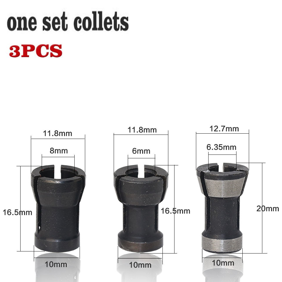 7 Pieces High Precision Router Bit Collet Chuck Adapter Set CNC Tool