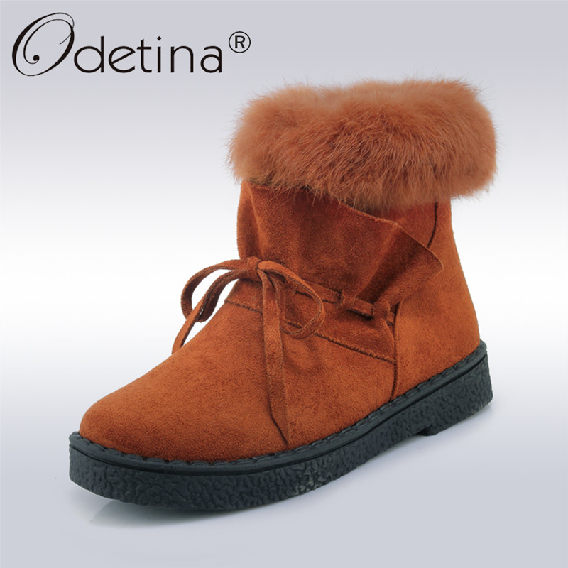 Odetina 2017 New Fashion Women Winter Shoes Rabbit Fur Snow Boots Warm Platform Side Zipper Ankle Boots Flat Booties Big Size 45 2016 rhinestone sheepskin women snow boots with fur flat platform ankle winter boots ladies australia boots bottine femme botas