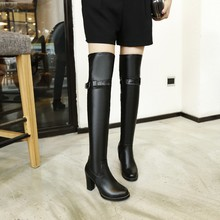 2015 Big size Women Knee High Boots Sexy Chunky High Heels Round Toe Spring Autumn Shoes Round Toe Less Platform Boots 8155 A