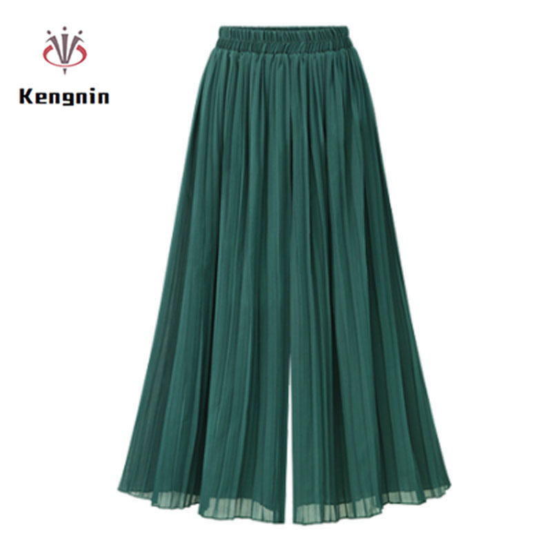 2019 Summer European Style Plus Size 5XL Pleated Women   Wide     Leg     Pants   Loose Chiffon Anklet Length   Pant   Elastic Waist Trousers
