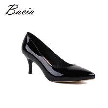 Bacia Pleine Saison Quotidienne Femmes Chaussures Brevet Véritable En Cuir Pompes 6.3 cm Talons hauts Bureau Femme Chaussures 40size Rose Pompes VA014