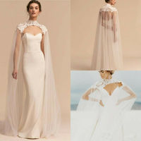 Long Lace Tulle Wedding High Neck Bridal Capes Veil Women Chiffon Cloaks Wraps Floor Length Wedding Accessories 2019