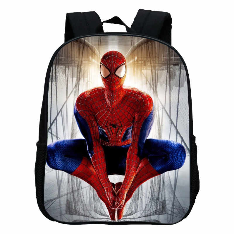 2017 New Style Polyester 12 Inches Small Backpacks Printing Cartoon Hero  Spiderman Kids School Bags for 5545a5d9cbe8b