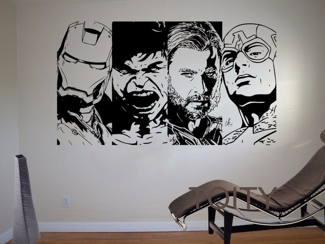 Avengers Wall Sticker Iron Man The Hulk Thor Captain America Vinyl Decal Superhero Movie Poster Comic Decor Boy Room Dorm Mural