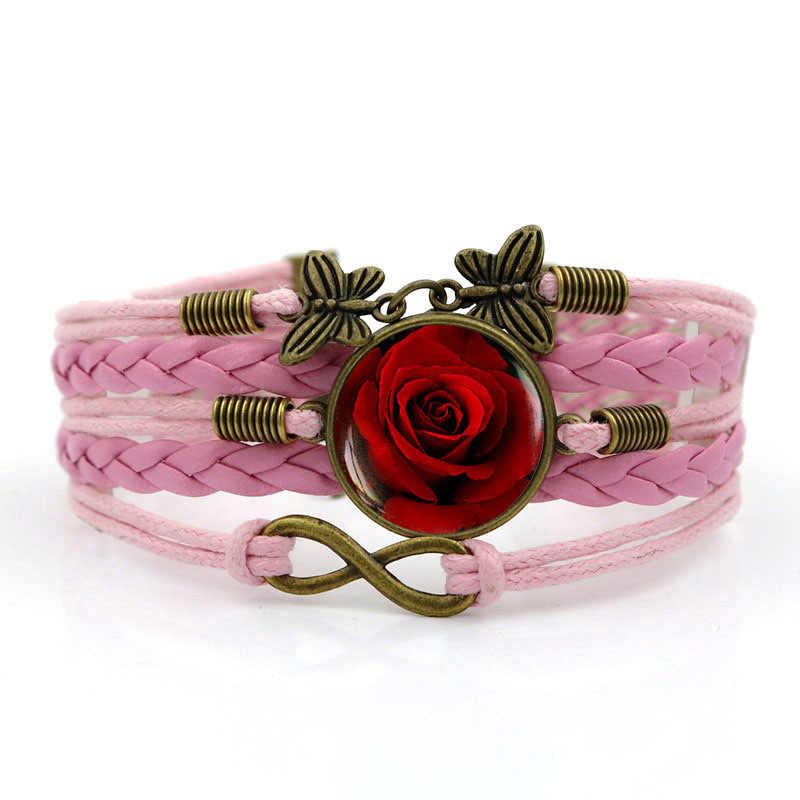 Modne skórzane roślin nowy 2019 europejskich amerykańskich kobiet róża bransoletka męska wielowarstwowa ręcznie tkane połączenie biżuteria unisex