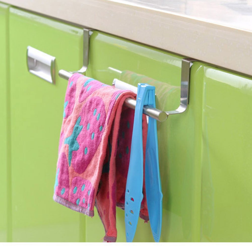 Sporting Hot Stainless Steel Towel Bar Holder Over The Kitchen Cabinet Cupboard Door Hanging Rack Silver