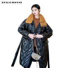 ZURICHOUSE New Winter Coat Women Long Lamb Fur Collar Down Padded Jacket 2019 Glossy Patent Leather Plus size Loose Warm Parka(China)