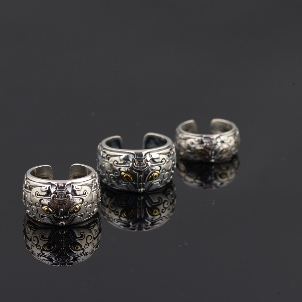 L&P 2018 Jewelry Line Thai Silver Wholesale S925 Pure Silver Antique Style Male Personality Atmosphere Opening Ring s925 pure silver personality female models new beeswax