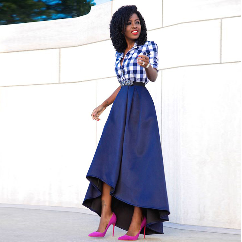 fashion 2016 royal blue high low skirts for