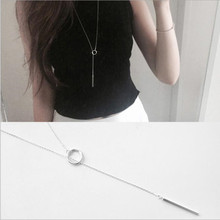 925 Silver Necklace Simple Long Personality European and American Temperament Wild Sweater Round Silver Necklace H56