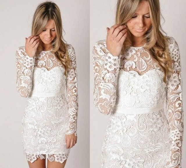 a54cfde921 US $86.98 13% OFF|Custom Made New Arrival Sparkly Boat Neck Long Sleeve  White Lace Short Prom Dresses Homecoming Party Gown-in Prom Dresses from ...